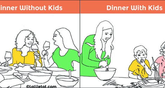 dinner with and without kids